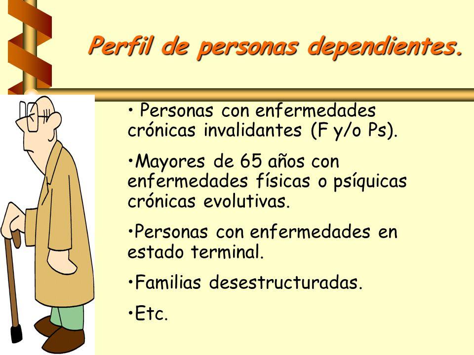 Perfil de personas dependientes. Personas con enfermedades crónicas invalidantes (F y/o Ps). Mayores de 65 años con enfermedades físicas o psíquicas c