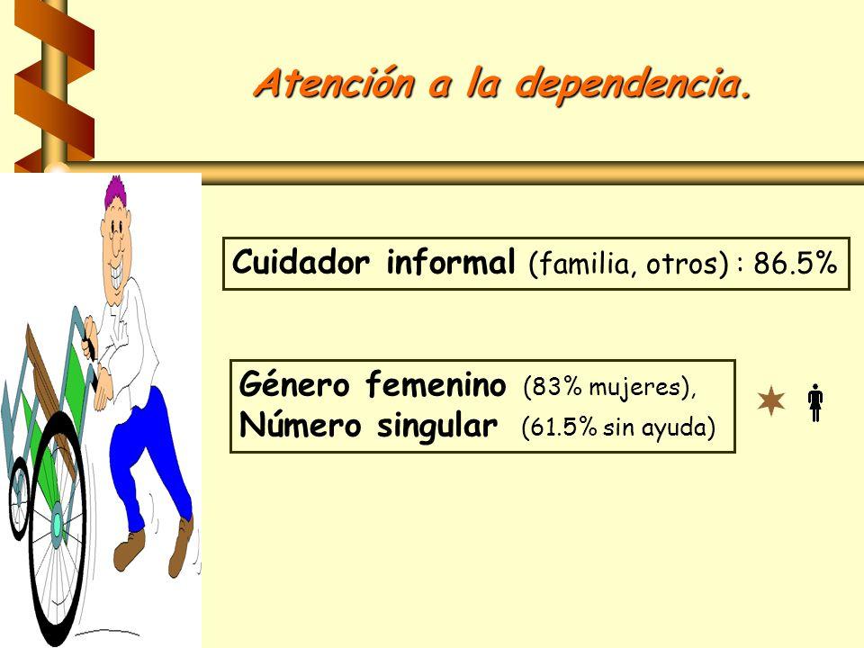 Atención a la dependencia. Cuidador informal (familia, otros) : 86.5% Género femenino (83% mujeres), Número singular (61.5% sin ayuda)