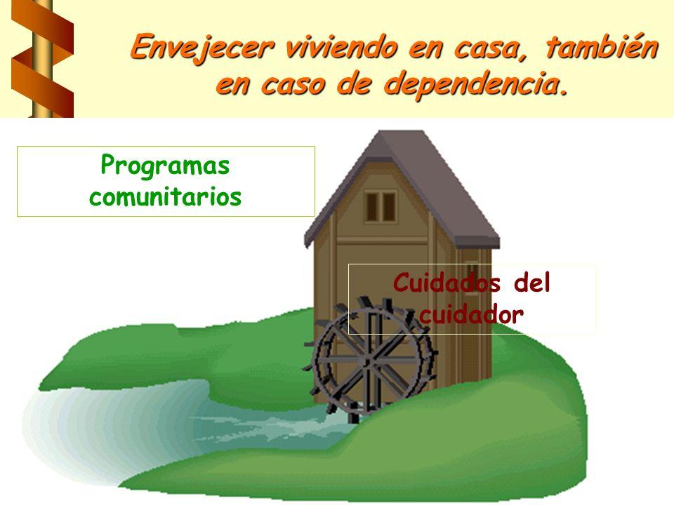 Envejecer viviendo en casa, también en caso de dependencia. Programas comunitarios Cuidados del cuidador