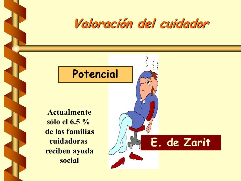 Valoración del cuidador Potencial E. de Zarit Actualmente sólo el 6.5 % de las familias cuidadoras reciben ayuda social
