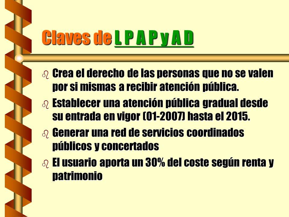 Claves de L P A P y A D b Crea el derecho de las personas que no se valen por si mismas a recibir atención pública. b Establecer una atención pública