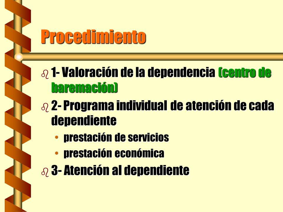 Procedimiento b 1- Valoración de la dependencia (centro de baremación) b 2- Programa individual de atención de cada dependiente prestación de servicio
