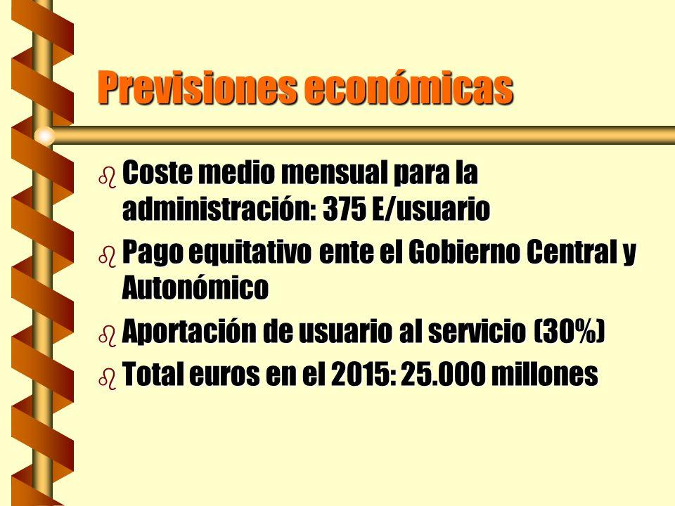 Previsiones económicas b Coste medio mensual para la administración: 375 E/usuario b Pago equitativo ente el Gobierno Central y Autonómico b Aportació