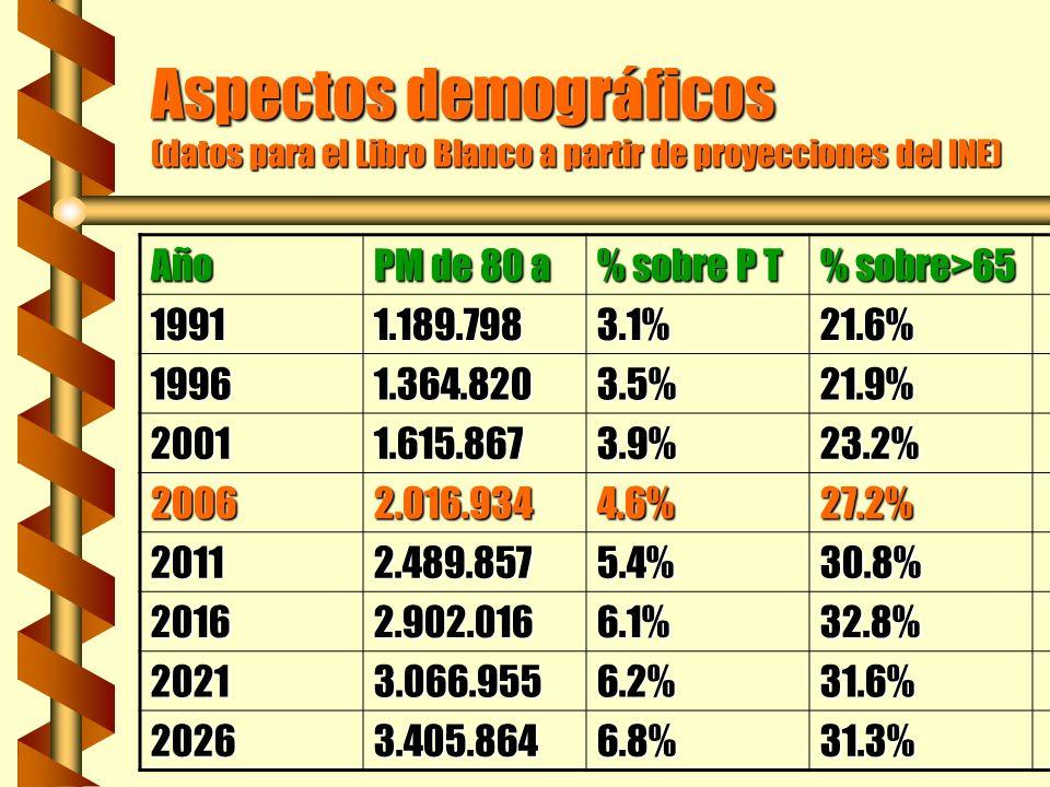 Aspectos demográficos (datos para el Libro Blanco a partir de proyecciones del INE) Año PM de 80 a % sobre P T % sobre>65 19911.189.7983.1%21.6% 19961