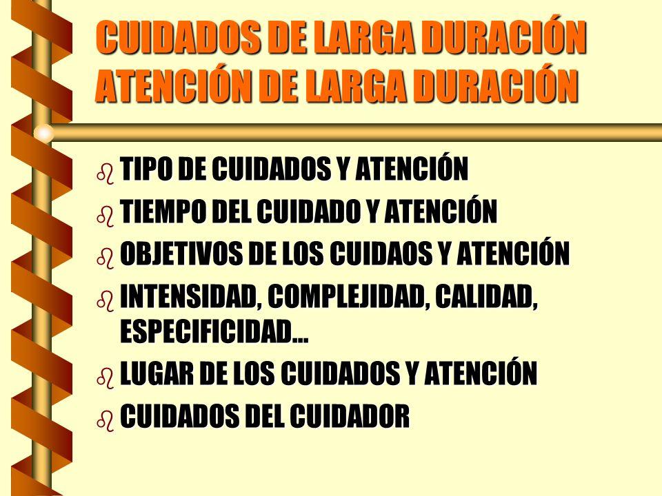 CUIDADOS DE LARGA DURACIÓN ATENCIÓN DE LARGA DURACIÓN b TIPO DE CUIDADOS Y ATENCIÓN b TIEMPO DEL CUIDADO Y ATENCIÓN b OBJETIVOS DE LOS CUIDAOS Y ATENC