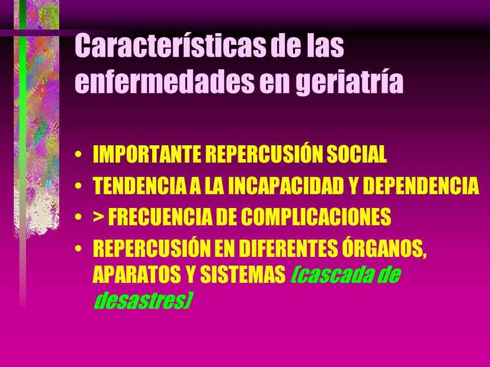 Características de las enfermedades en geriatría IMPORTANTE REPERCUSIÓN SOCIAL TENDENCIA A LA INCAPACIDAD Y DEPENDENCIA > FRECUENCIA DE COMPLICACIONES