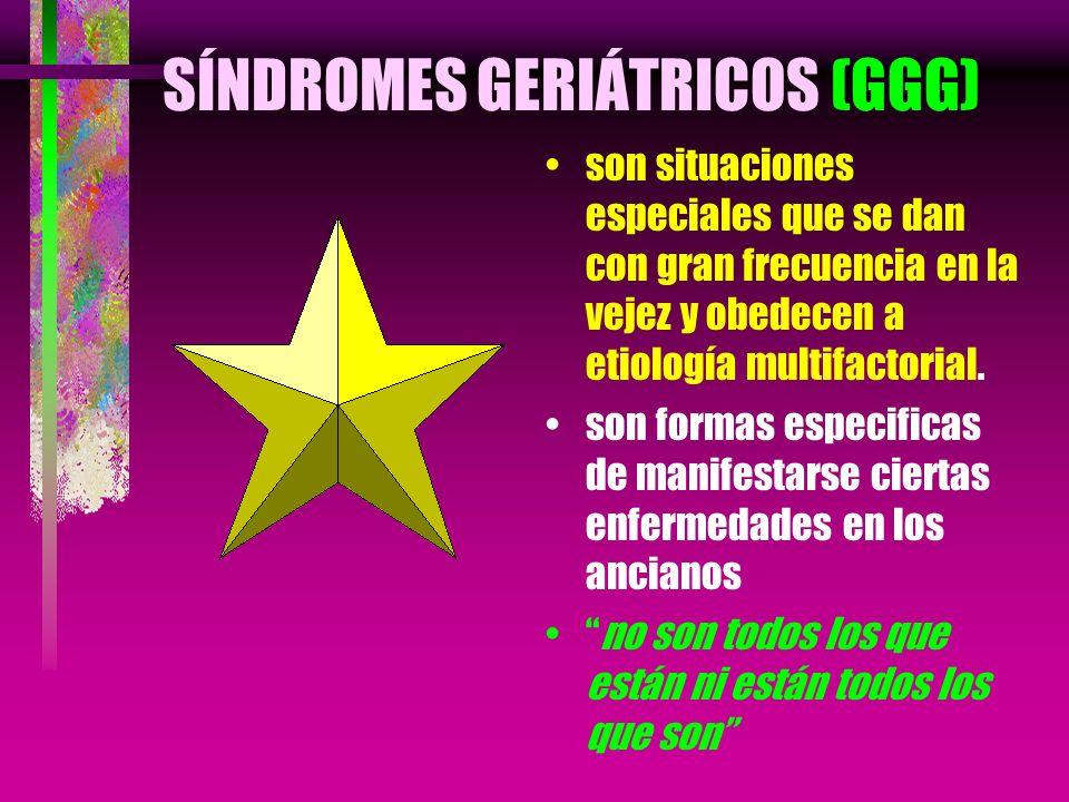 SÍNDROMES GERIÁTRICOS (GGG) son situaciones especiales que se dan con gran frecuencia en la vejez y obedecen a etiología multifactorial. son formas es