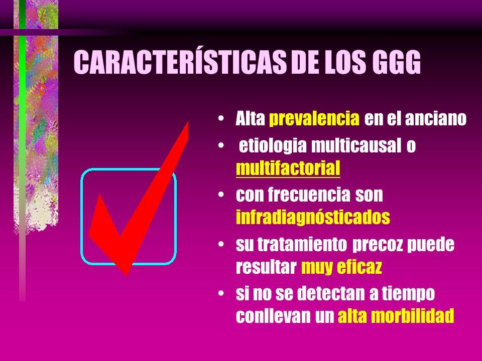 CARACTERÍSTICAS DE LOS GGG Alta prevalencia en el anciano etiologia multicausal o multifactorial con frecuencia son infradiagnósticados su tratamiento