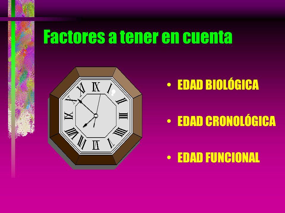 Factores a tener en cuenta EDAD BIOLÓGICA EDAD CRONOLÓGICA EDAD FUNCIONAL