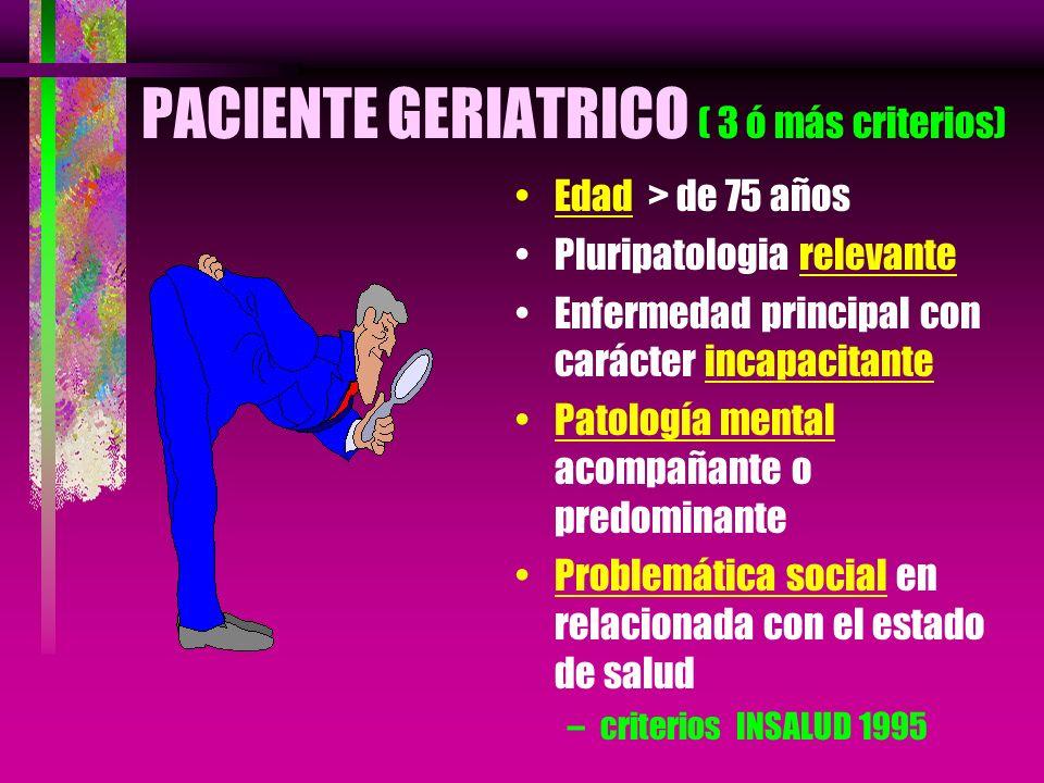 PACIENTE GERIATRICO ( 3 ó más criterios) Edad > de 75 años Pluripatologia relevante Enfermedad principal con carácter incapacitante Patología mental a