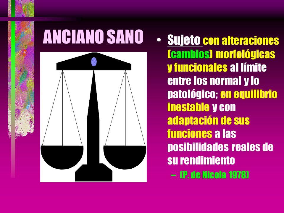 ANCIANO SANO Sujeto con alteraciones (cambios) morfológicas y funcionales al límite entre los normal y lo patológico; en equilibrio inestable y con ad