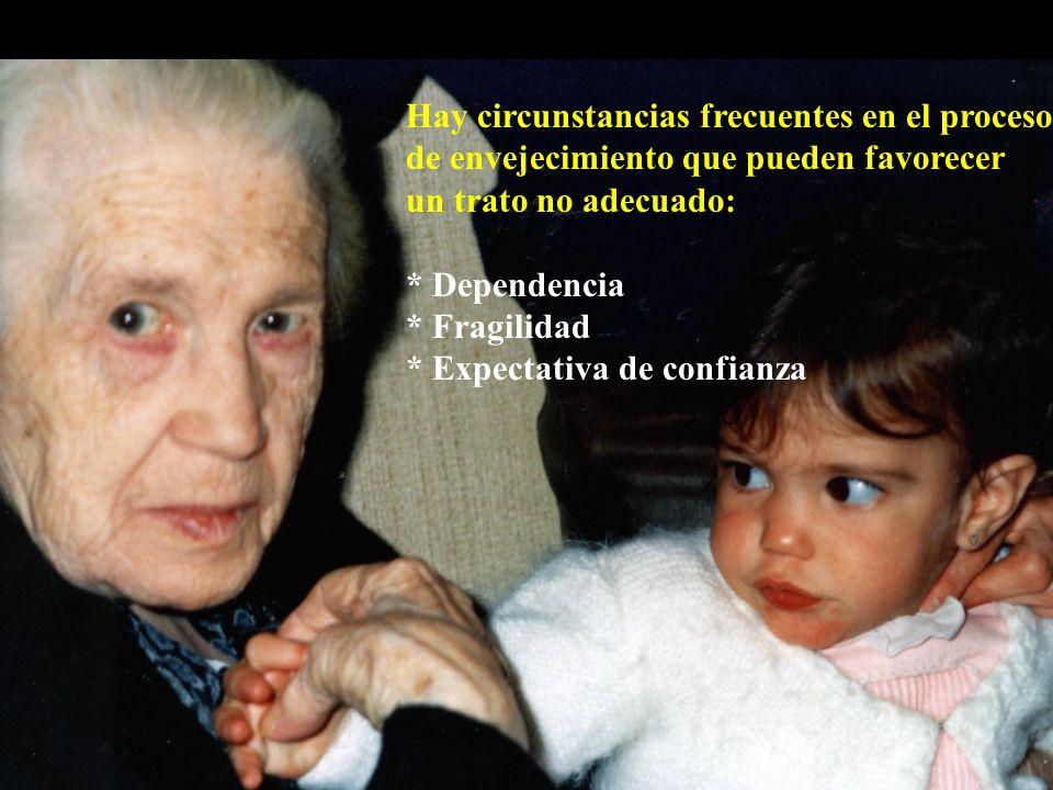 Hay circunstancias frecuentes en el proceso de envejecimiento que pueden favorecer un trato no adecuado: * Dependencia * Fragilidad * Expectativa de confianza