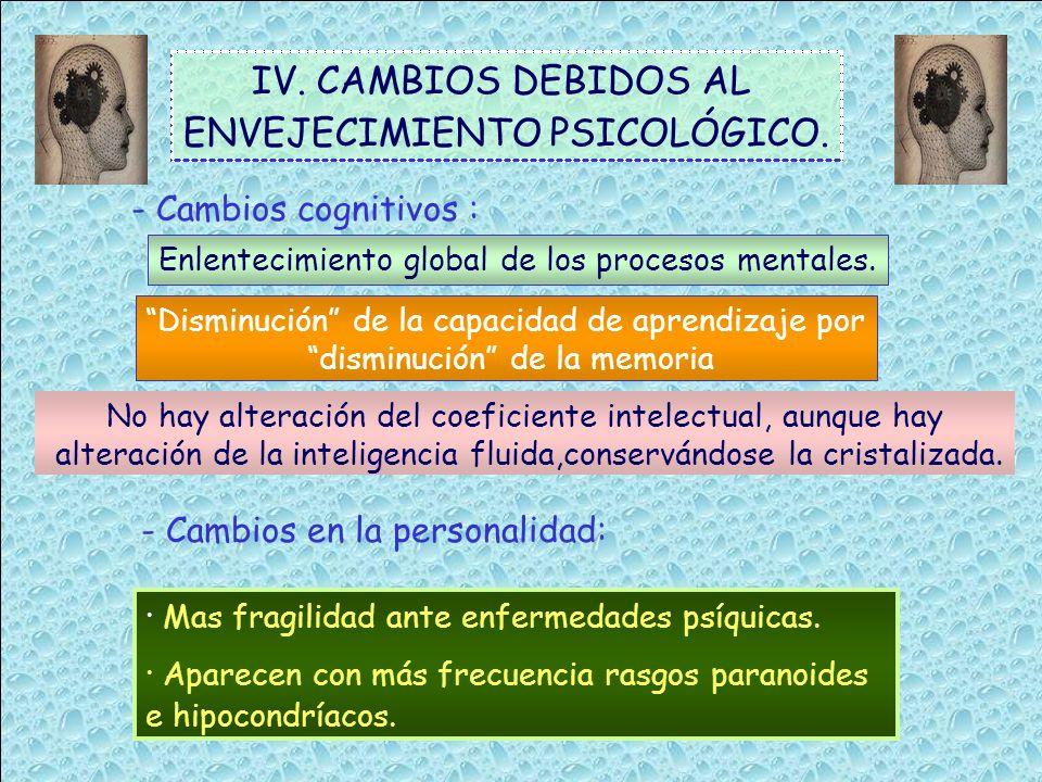 IV. CAMBIOS DEBIDOS AL ENVEJECIMIENTO PSICOLÓGICO. - Cambios cognitivos : Enlentecimiento global de los procesos mentales. Disminución de la capacidad