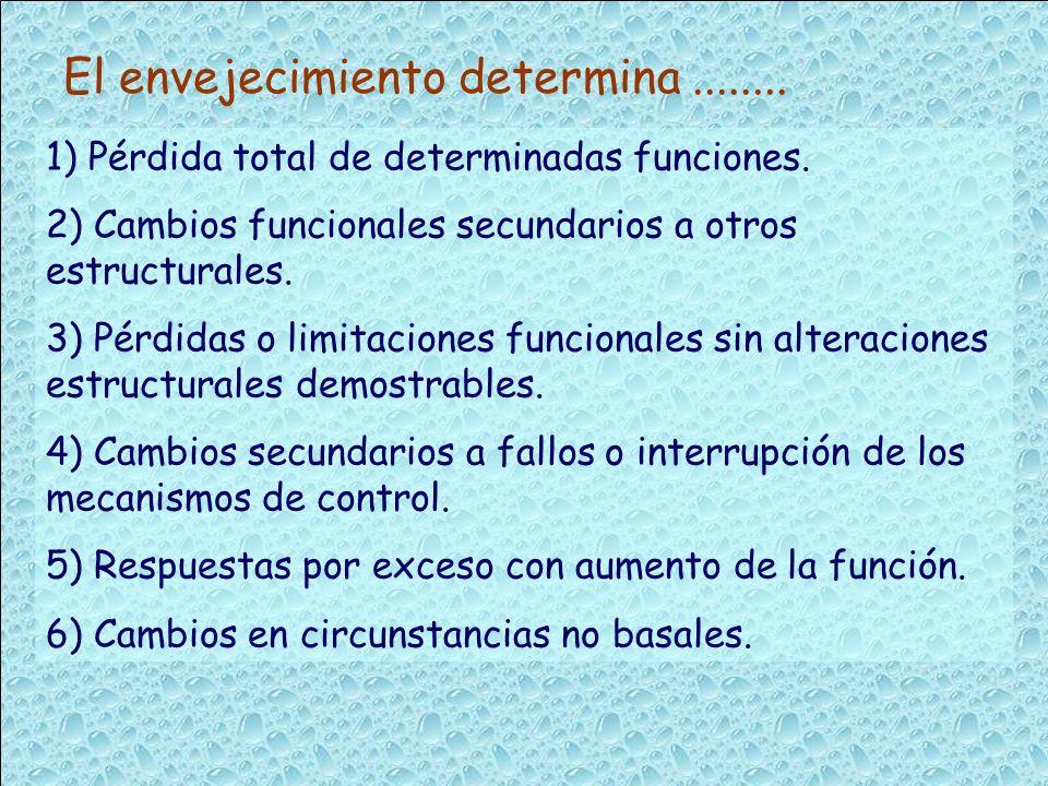 1) Pérdida total de determinadas funciones. 2) Cambios funcionales secundarios a otros estructurales. 3) Pérdidas o limitaciones funcionales sin alter