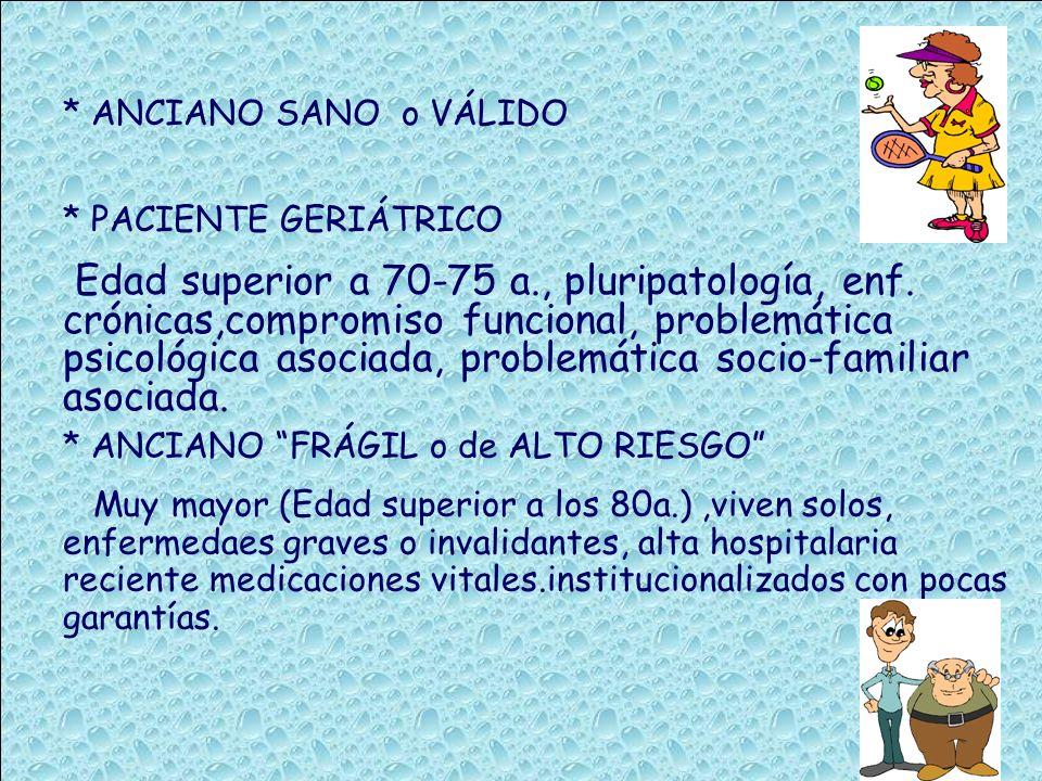 * ANCIANO SANO o VÁLIDO * PACIENTE GERIÁTRICO Edad superior a 70-75 a., pluripatología, enf. crónicas,compromiso funcional, problemática psicológica a