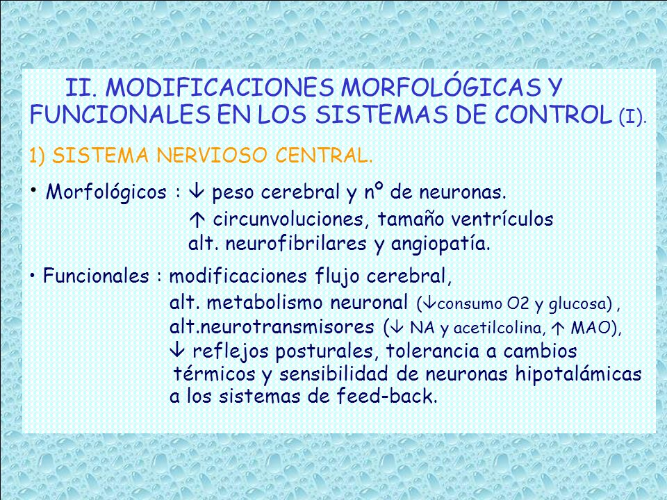 II. MODIFICACIONES MORFOLÓGICAS Y FUNCIONALES EN LOS SISTEMAS DE CONTROL (I). 1) SISTEMA NERVIOSO CENTRAL. Morfológicos : peso cerebral y nº de neuron