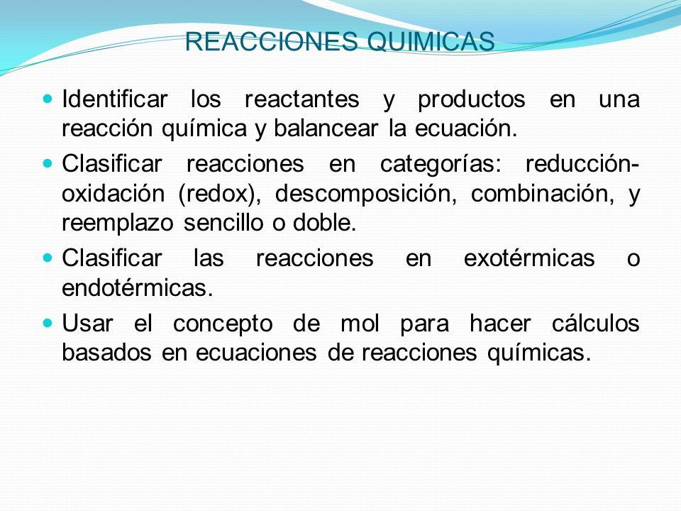 REACCIONES DE DESCOMPOSICION En reacciones de descomposición, una sustancia se rompe en dos o más sustancias simples.