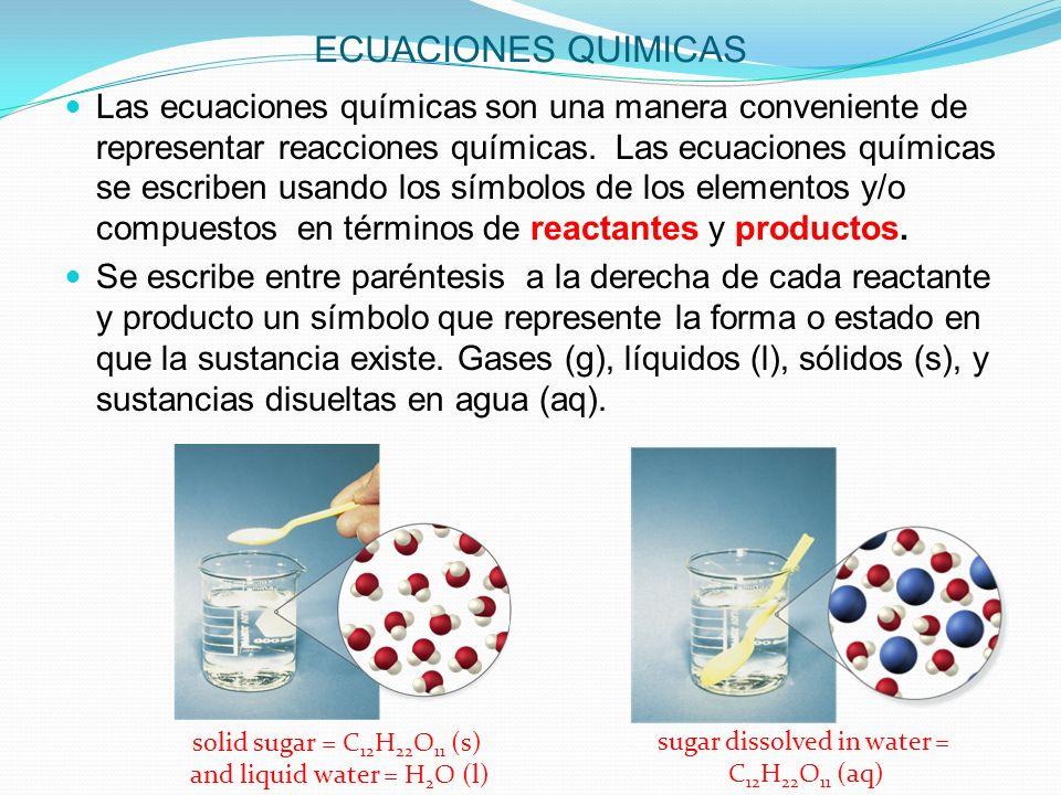 ECUACIONES QUIMICAS REACTANTES Los reactantes en una equación química son las sustancias escritas en el lado izquierdo de la flecha en la ecuación.