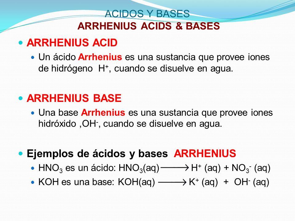 ACIDOS Y BASES ARRHENIUS ACIDS & BASES ARRHENIUS ACID Un ácido Arrhenius es una sustancia que provee iones de hidrógeno H +, cuando se disuelve en agu