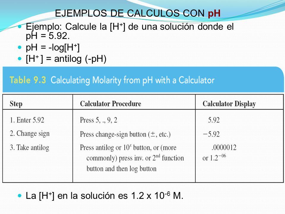 EJEMPLOS DE CALCULOS CON pH Ejemplo: Calcule la [H + ] de una solución donde el pH = 5.92. pH = -log[H + ] [H + ] = antilog (-pH) La [H + ] en la solu