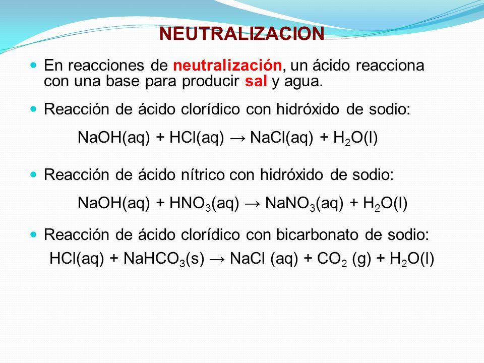 NEUTRALIZACION En reacciones de neutralización, un ácido reacciona con una base para producir sal y agua. Reacción de ácido clorídico con hidróxido de