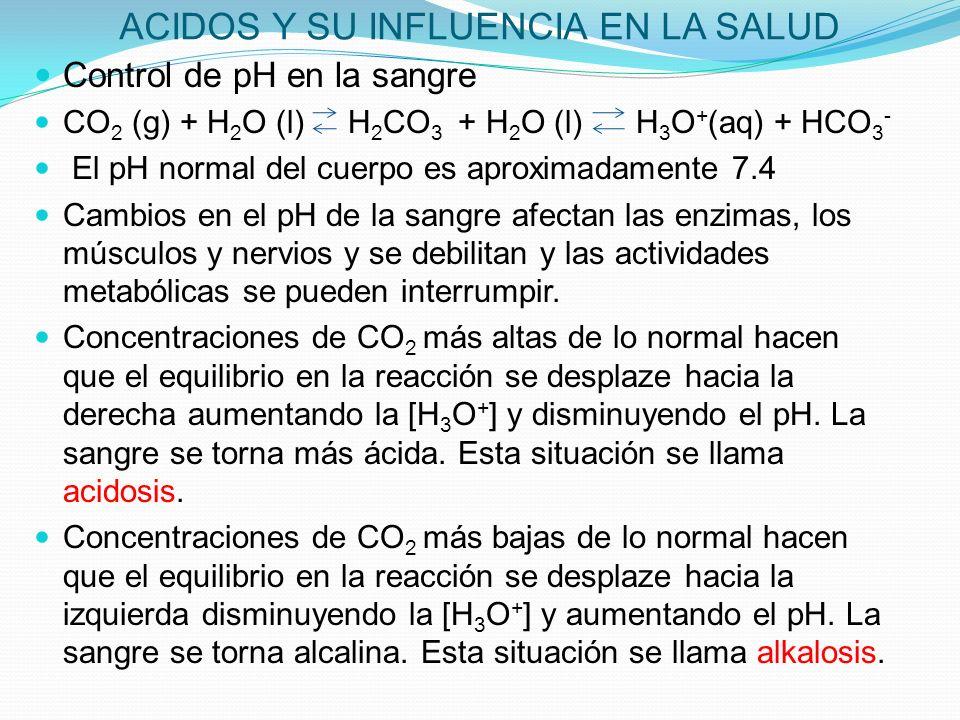 ACIDOS Y SU INFLUENCIA EN LA SALUD Control de pH en la sangre CO 2 (g) + H 2 O (l) H 2 CO 3 + H 2 O (l) H 3 O + (aq) + HCO 3 - El pH normal del cuerpo