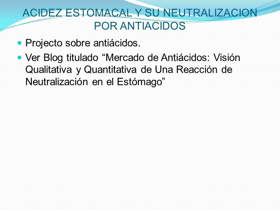 ACIDEZ ESTOMACAL Y SU NEUTRALIZACION POR ANTIACIDOS Projecto sobre antiácidos. Ver Blog titulado Mercado de Antiácidos: Visión Qualitativa y Quantitat