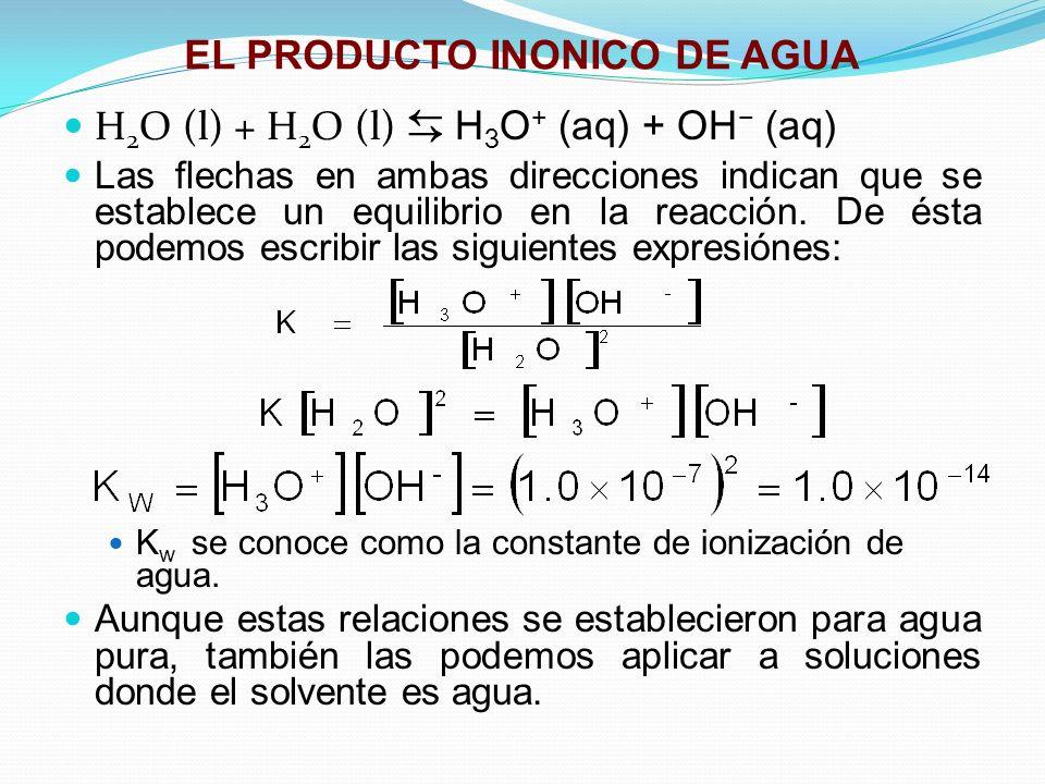 EL PRODUCTO INONICO DE AGUA H 2 O (l) + H 2 O (l) H 3 O + (aq) + OH (aq) Las flechas en ambas direcciones indican que se establece un equilibrio en la