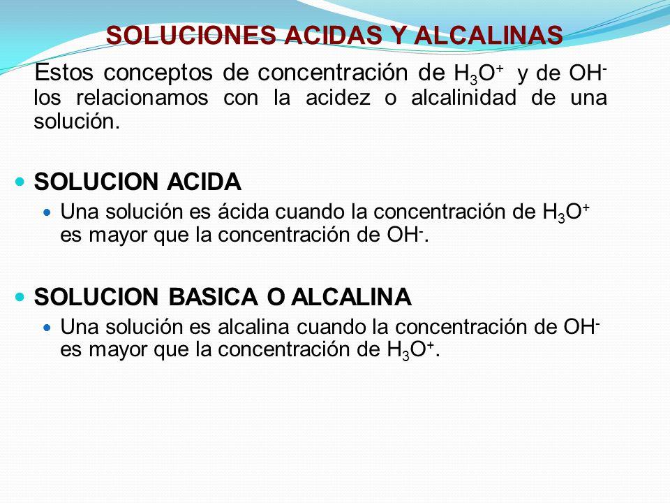 SOLUCIONES ACIDAS Y ALCALINAS Estos conceptos de concentración de H 3 O + y de OH - los relacionamos con la acidez o alcalinidad de una solución. SOLU