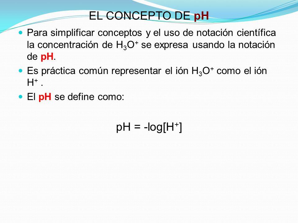 EL CONCEPTO DE pH Para simplificar conceptos y el uso de notación científica la concentración de H 3 O + se expresa usando la notación de pH. Es práct