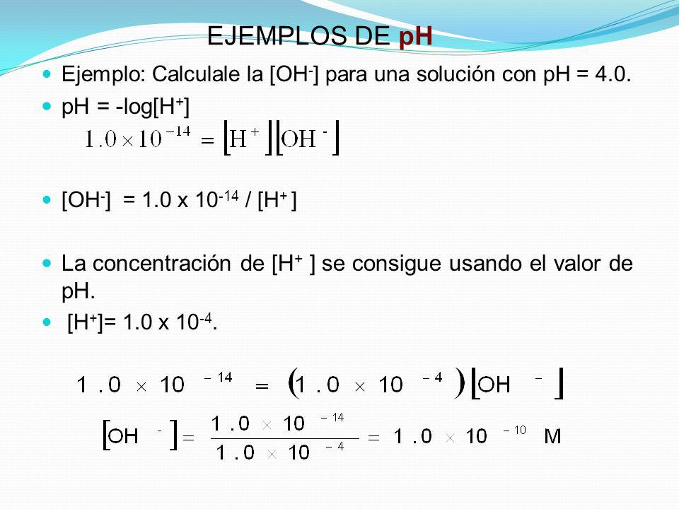 EJEMPLOS DE pH Ejemplo: Calculale la [OH - ] para una solución con pH = 4.0. pH = -log[H + ] [OH - ] = 1.0 x 10 -14 / [H + ] La concentración de [H +