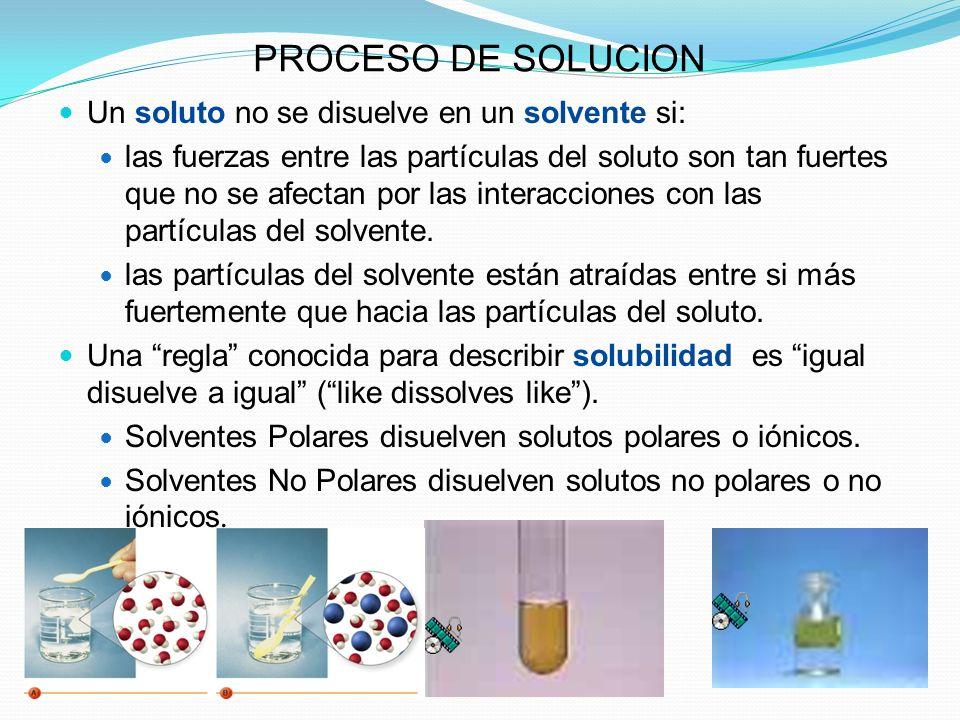PROCESO DE SOLUCION Un soluto no se disuelve en un solvente si: las fuerzas entre las partículas del soluto son tan fuertes que no se afectan por las interacciones con las partículas del solvente.