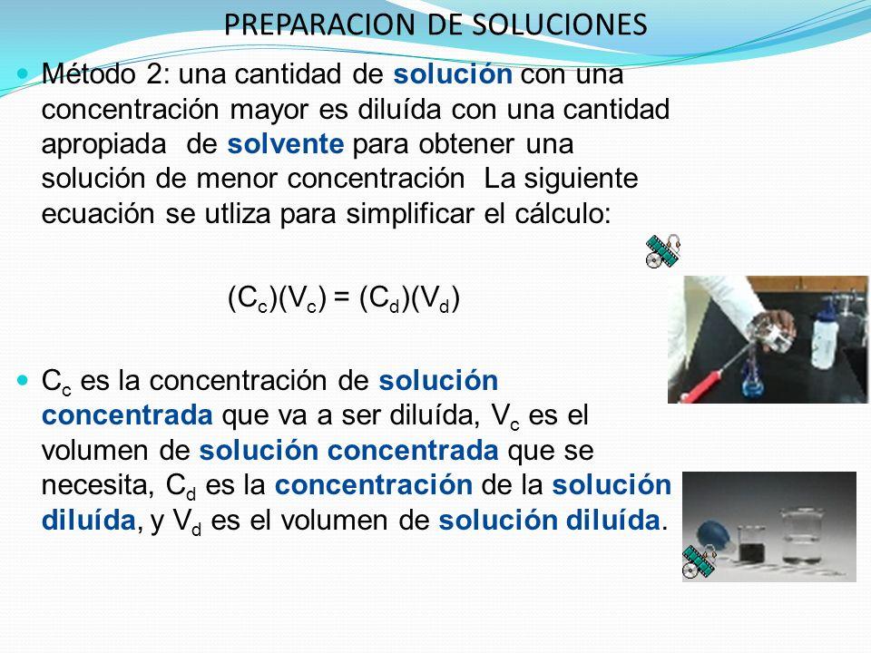 PREPARACION DE SOLUCIONES Método 2: una cantidad de solución con una concentración mayor es diluída con una cantidad apropiada de solvente para obtener una solución de menor concentración La siguiente ecuación se utliza para simplificar el cálculo: (C c )(V c ) = (C d )(V d ) C c es la concentración de solución concentrada que va a ser diluída, V c es el volumen de solución concentrada que se necesita, C d es la concentración de la solución diluída, y V d es el volumen de solución diluída.