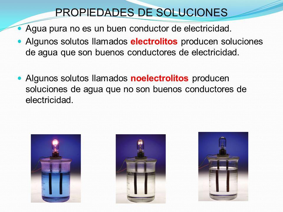 PROPIEDADES DE SOLUCIONES Agua pura no es un buen conductor de electricidad.