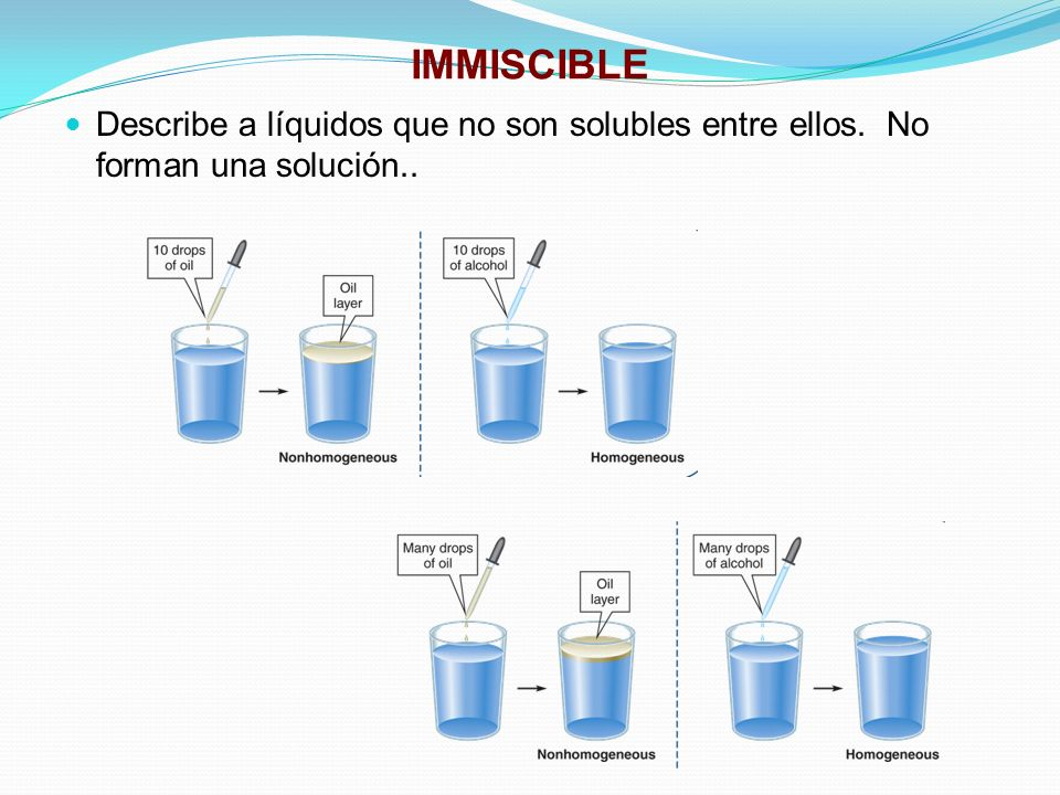 IMMISCIBLE Describe a líquidos que no son solubles entre ellos. No forman una solución..