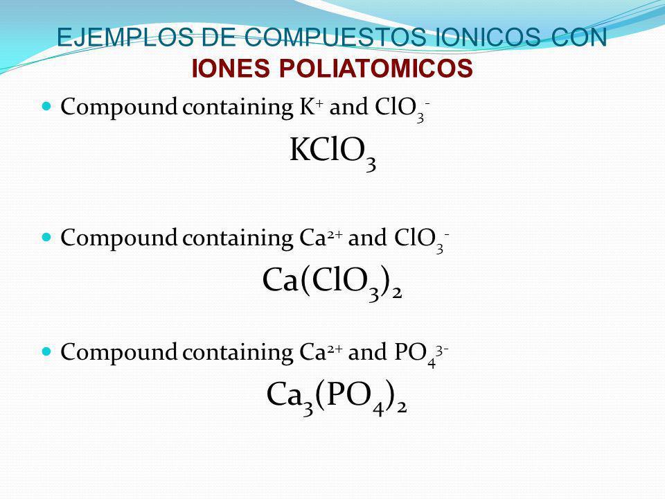 EJEMPLOS DE COMPUESTOS IONICOS CON IONES POLIATOMICOS Compound containing K + and ClO 3 - KClO 3 Compound containing Ca 2+ and ClO 3 - Ca(ClO 3 ) 2 Co