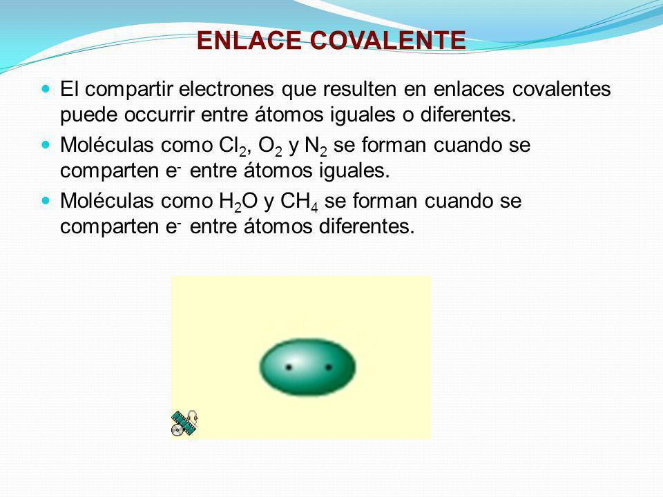 ENLACE COVALENTE El compartir electrones que resulten en enlaces covalentes puede occurrir entre átomos iguales o diferentes. Moléculas como Cl 2, O 2