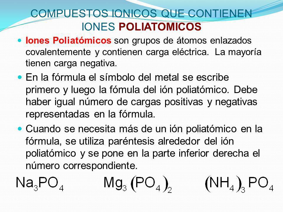 COMPUESTOS IONICOS QUE CONTIENEN IONES POLIATOMICOS Iones Poliatómicos son grupos de átomos enlazados covalentemente y contienen carga eléctrica. La m