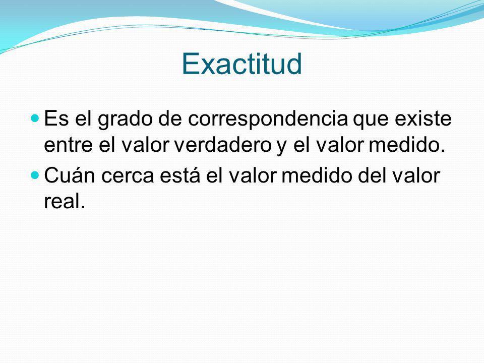 Exactitud Es el grado de correspondencia que existe entre el valor verdadero y el valor medido. Cuán cerca está el valor medido del valor real.