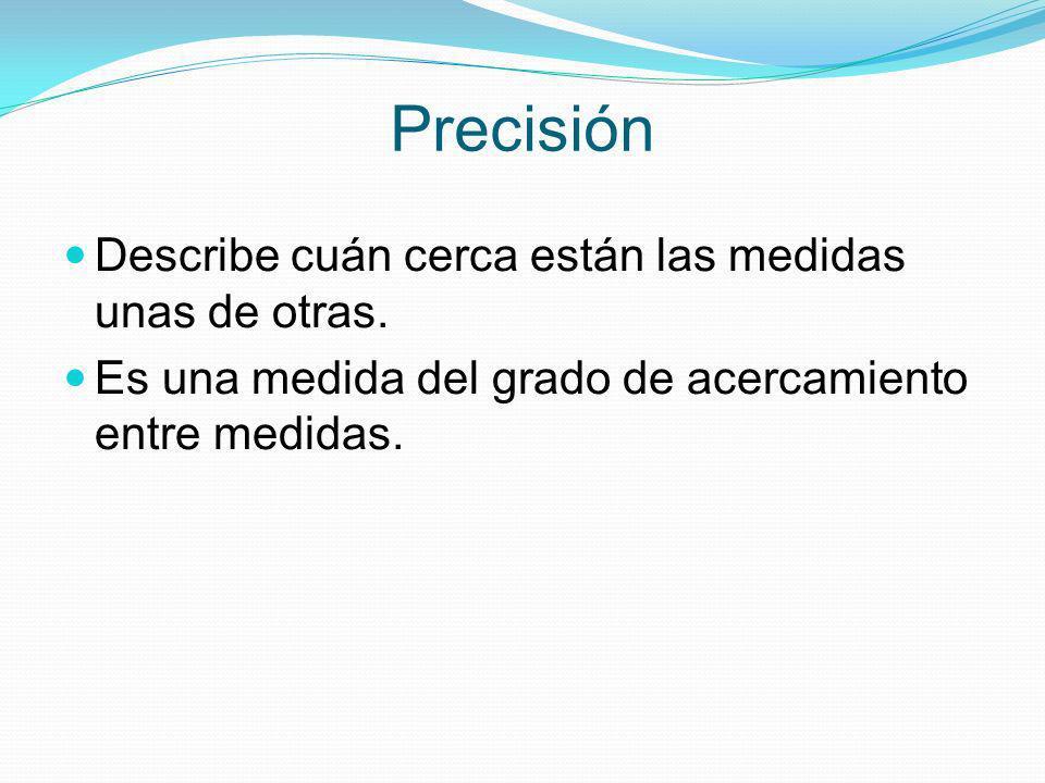 Precisión Describe cuán cerca están las medidas unas de otras. Es una medida del grado de acercamiento entre medidas.