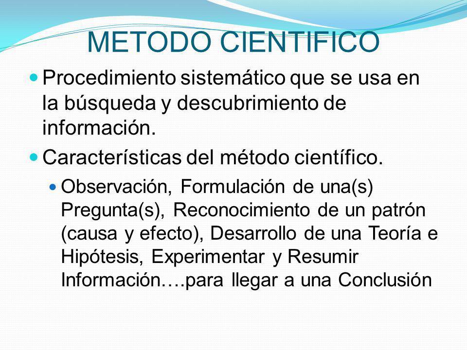 METODO CIENTIFICO Procedimiento sistemático que se usa en la búsqueda y descubrimiento de información. Características del método científico. Observac