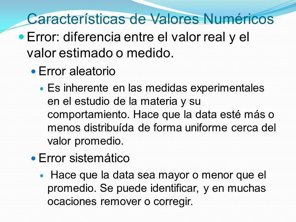 Características de Valores Numéricos Error: diferencia entre el valor real y el valor estimado o medido. Error aleatorio Es inherente en las medidas e