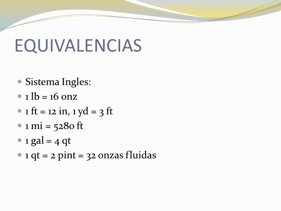 EQUIVALENCIAS Sistema Ingles: 1 lb = 16 onz 1 ft = 12 in, 1 yd = 3 ft 1 mi = 5280 ft 1 gal = 4 qt 1 qt = 2 pint = 32 onzas fluidas