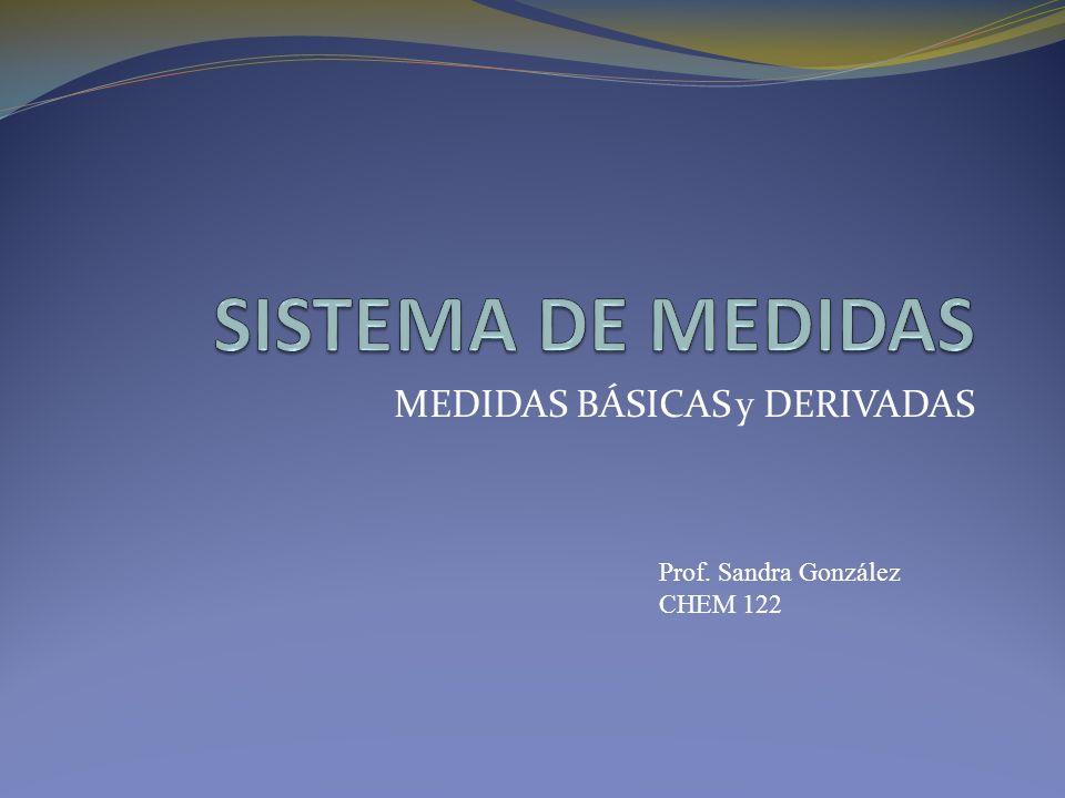 MEDIDAS BÁSICAS y DERIVADAS Prof. Sandra González CHEM 122
