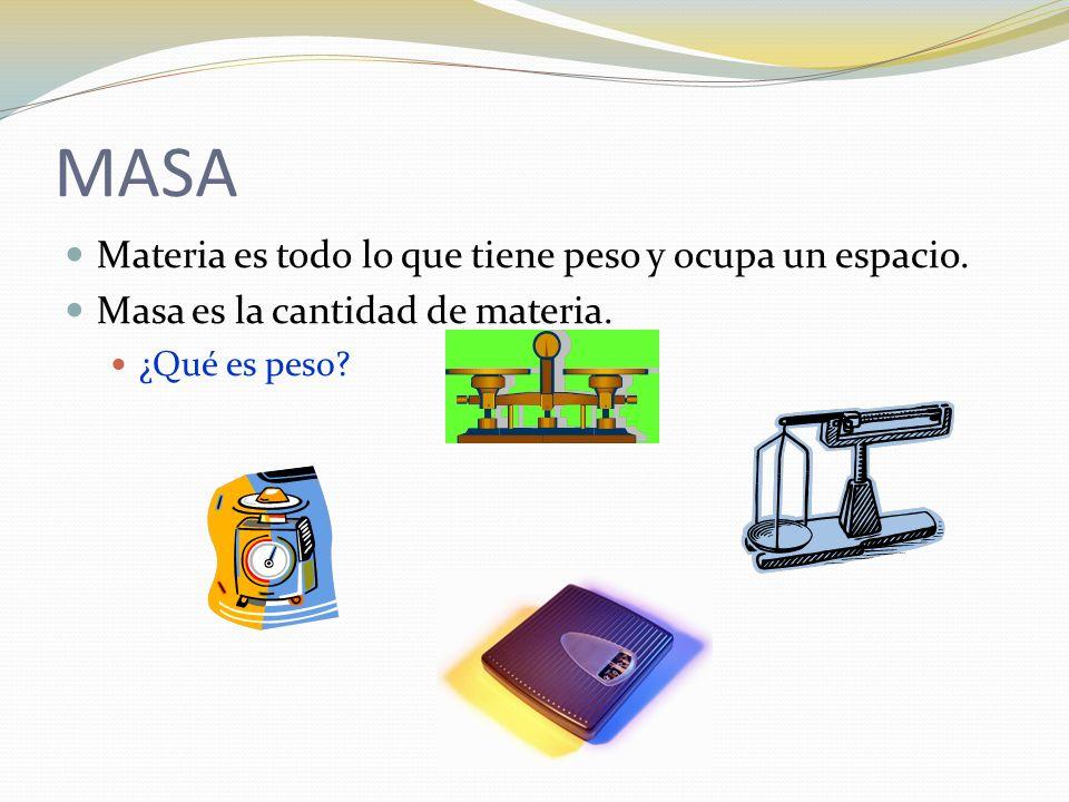 MASA Materia es todo lo que tiene peso y ocupa un espacio. Masa es la cantidad de materia. ¿Qué es peso?