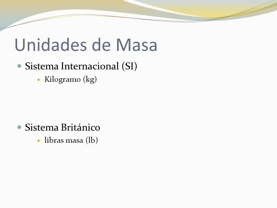 Unidades de Masa Sistema Internacional (SI) Kilogramo (kg) Sistema Británico libras masa (lb)