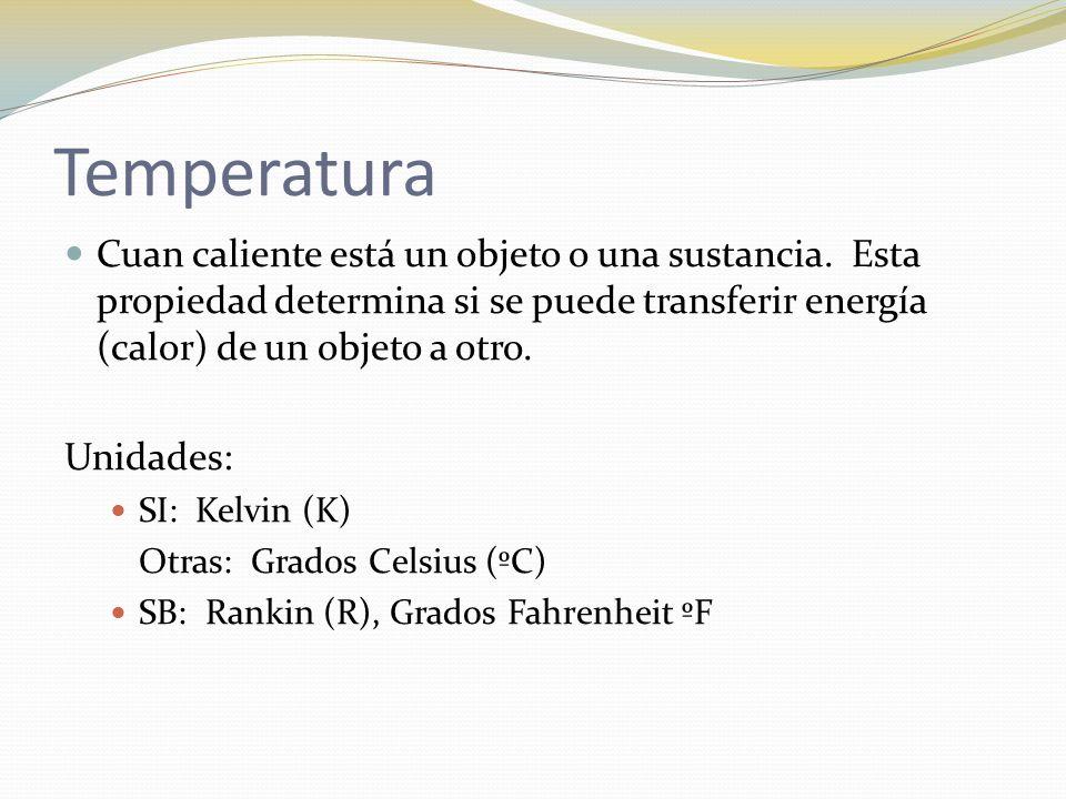 Temperatura Cuan caliente está un objeto o una sustancia. Esta propiedad determina si se puede transferir energía (calor) de un objeto a otro. Unidade