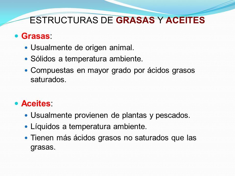 ESTRUCTURAS DE GRASAS Y ACEITES Grasas: Usualmente de origen animal. Sólidos a temperatura ambiente. Compuestas en mayor grado por ácidos grasos satur