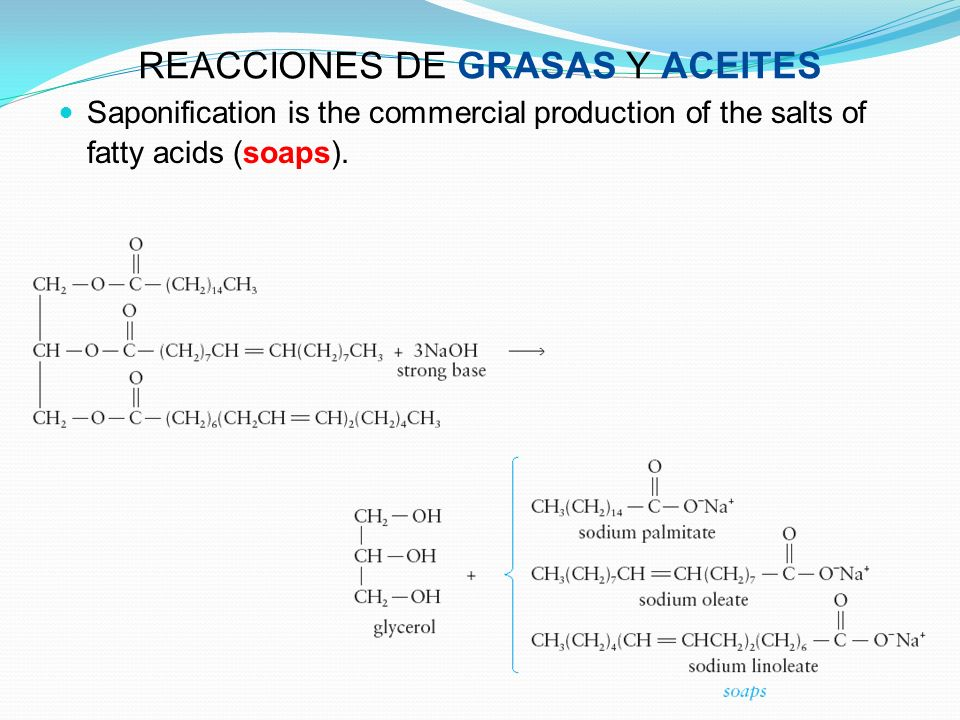 REACCIONES DE GRASAS Y ACEITES Saponification is the commercial production of the salts of fatty acids (soaps).