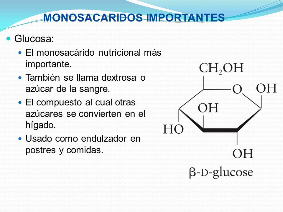 Glucosa: El monosacárido nutricional más importante. También se llama dextrosa o azúcar de la sangre. El compuesto al cual otras azúcares se convierte